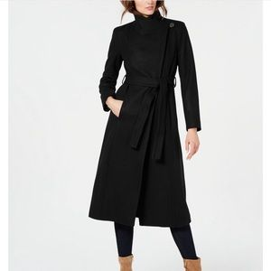 KENNETH COLE Black Asymmetrical Maxi Trench Coat